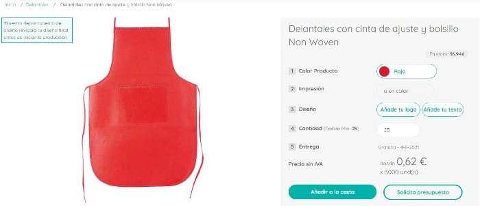 Delantales personalizados de forma online en Moloon